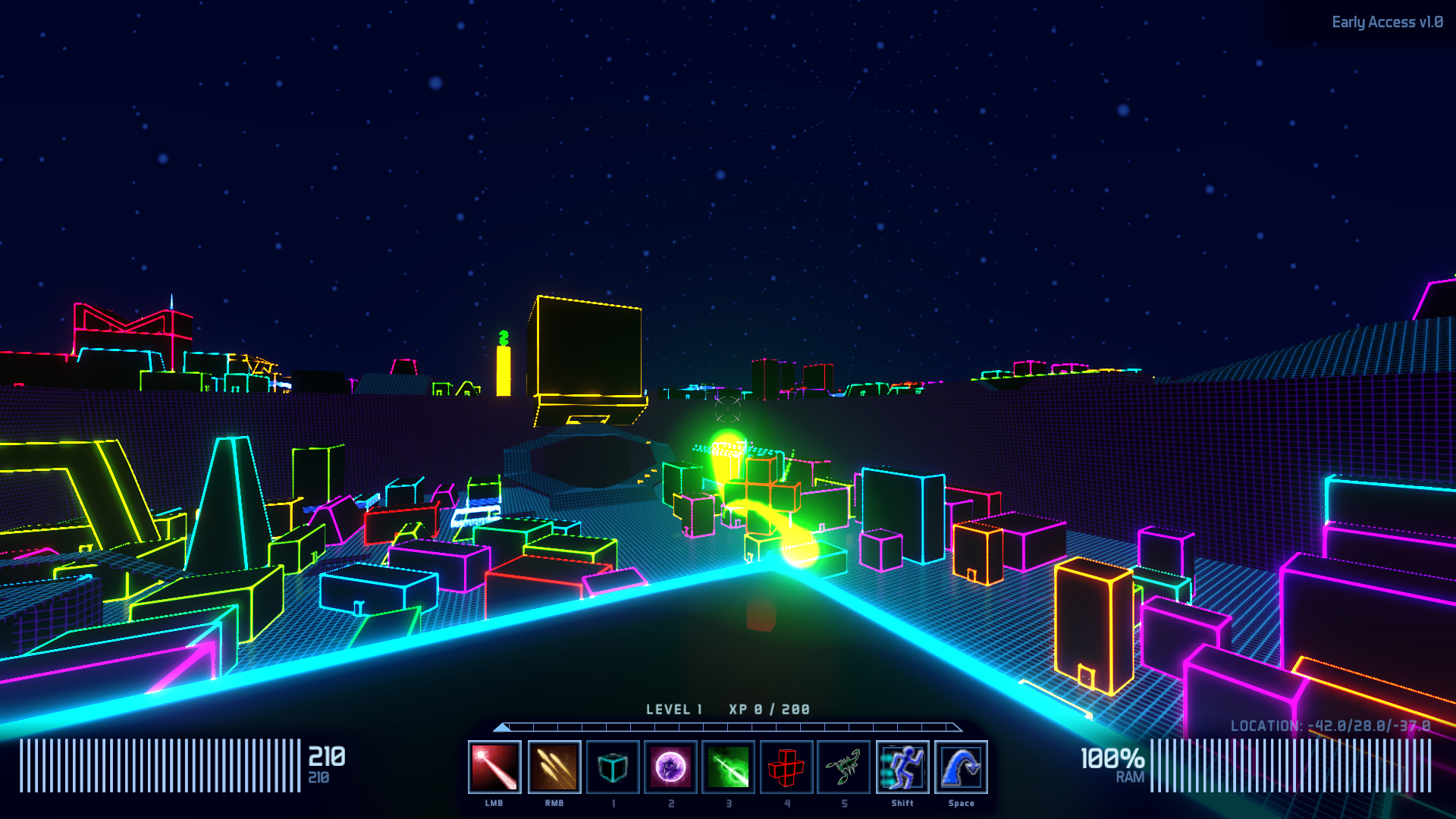 first-person viewpoint of the neon shape-filled overworld